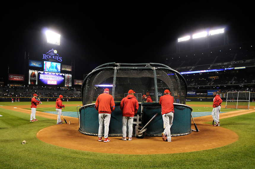 11 October 2009: Phillies manager Charlie Manuel and coaches and players during batting practice before a National League Division Series game between the Philadelphia Phillies and the Colorado Rockies at Coors Field in Denver, Colorado. The Phillies beat the Rockies 6-5 as the temperature dipped into the 20's. *****For editorial use only*****