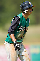 Augusta shortstop Emmanuel Burris (5) takes a walking lead off of third base versus Kannapolis at Fieldcrest Cannon Stadium in Kannapolis, NC, Monday, September 3, 2007.