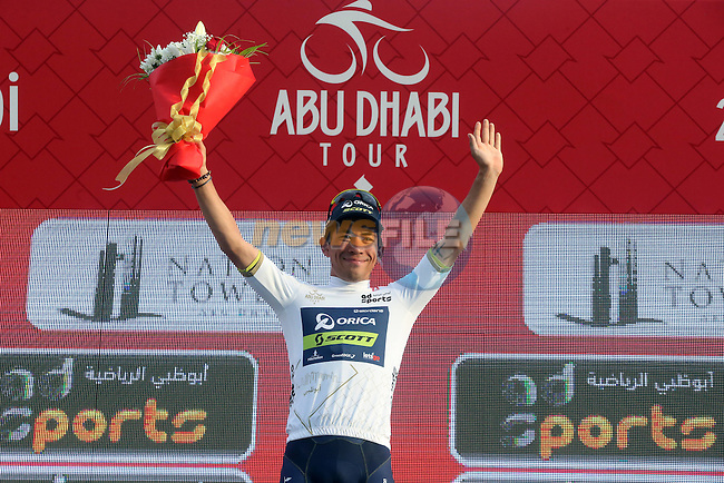 Caleb Ewan (AUS) Orica Scott wears the young riders White Jersey at the end of Stage 2 the Nation Towers Stage of the 2017 Abu Dhabi Tour, running 153km around the city of Abu Dhabi, Abu Dhabi. 24th February 2017<br />