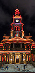Sydney Town Hall in  Red part of the 2016 Chinese New Year Celebrations in Sydney, Lunar Lanterns Festival across the city cbd. Year of the Monkey, Sydney, NSW, Australia
