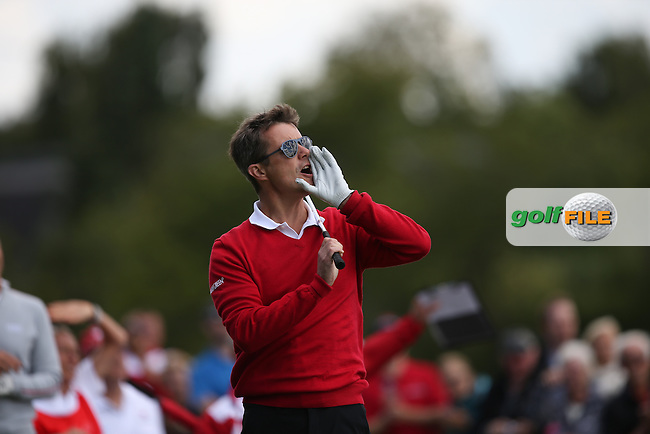 """HKH Kronprins Frederik calls """"Four"""" off the first tee during the Made in Denmark 2014 Pro-Am from the Himmerland Golf & Spa Resort, Aalborg, Denmark. Picture:  David Lloyd / www.golffile.ie"""