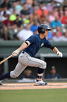 Shortstop Andres Gimenez (13) of the Columbia Fireflies bats in a game against the Greenville Drive on Wednesday, June 14, 2017, at Fluor Field at the West End in Greenville, South Carolina. Columbia won, 6-2, in 11 innings. (Tom Priddy/Four Seam Images)