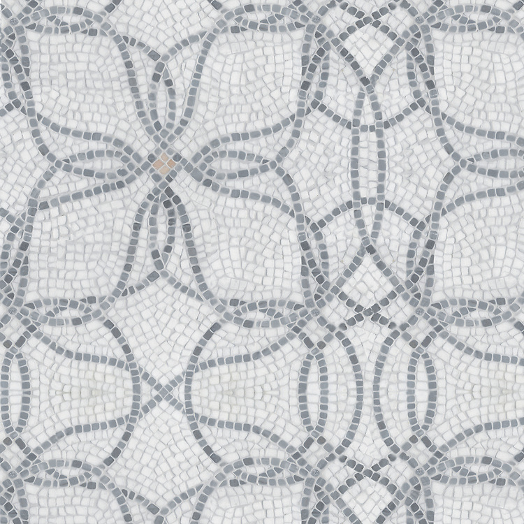Big Bang, a hand-chopped mosaic, shown in tumbled Thassos, Bardiglio and Rosa Portagallo.