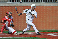 Third baseman Derek Gallelo (41) of the Charlotte 49ers bats in a game against the Fairfield Stags on Saturday, March 12, 2016, at Hayes Stadium in Charlotte, North Carolina. The Stags catcher is Mitch Williams and the home plate umpire is Brad Newton. (Tom Priddy/Four Seam Images)