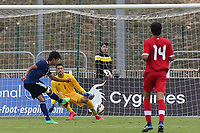 Kaoru Mitoma scores Japan's opening goal from close range during Japan Under-21 vs Canada Under-21, Tournoi Maurice Revello Football at Stade Parsemain on 3rd June 2018