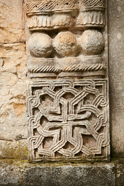 Close up picture & image medieval Georgian architectural stone work of the medieval Khobi Monastery and Khobi Georgian Orthodox Cathedral, 10th -13th century, Khobi, Georgia.