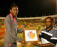 Brittney Reece accepting her award after winning the long jump at the Jamaica International Invitational Meet held in Kingston, Jamaica on May 2nd. 2009. Photo by Errol Anderson,The Sporting Image.net