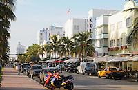 Miami Beach cityscape, Colony Hotel, Boulevard Hotel, Ocean Drive at 8th Street, South Beach, Miami Beach Florida