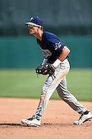Jackson Lueck (8) of Orangewood Christian High School in Longwood, Florida playing for the Tampa Bay Rays scout team during the East Coast Pro Showcase on August 2, 2014 at NBT Bank Stadium in Syracuse, New York.  (Mike Janes/Four Seam Images)
