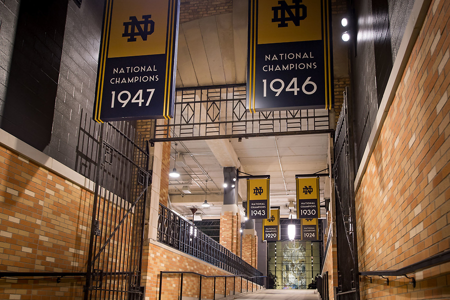 October 26, 2017; Notre Dame Stadium tunnel (Photo by Matt Cashore/University of Notre Dame)