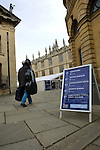 The Blackwell's Festival Marquee and the Sheldonian Theare during the FT Weekend Oxford Literary Festival, Oxford, UK. Wednesday 26 March 2014.<br /> <br /> PHOTO COPYRIGHT Graham Harrison<br /> graham@grahamharrison.com<br /> <br /> Moral rights asserted.