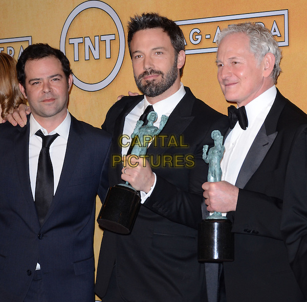 Rory Cochrane, Ben Affleck, Victor Garber.Pressroom at the 19th Annual Screen Actors Guild Awards held at The Shrine Auditorium, Los Angeles, California, USA..27th January 2013.SAG SAGs half length black beard facial hair blue award trophy trophies winner winners white shirt bow tie tuxedo  .CAP/ADM/TW.©Tonya Wise/AdMedia/Capital Pictures.