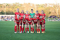 Kansas City, Mo. - Saturday April 23, 2016: The starting XI for Portland Thorns FC - goalkeeper Michelle Betos (18), defender Emily Menges (4), defender Kat Williamson (5), midfielder Lindsey Horan (7), forward Nadia Nadim (9), midfielder Allie Long (10), midfielder Dagny Brynjarsdottir (11), defender Emily Sonnett (16), midfielder Tobin Heath (17), defender Meghan Klingenberg (25), forward Mallory Weber (26) - line up before playing FC Kansas City at Swope Soccer Village. The match ended in a 1-1 draw.