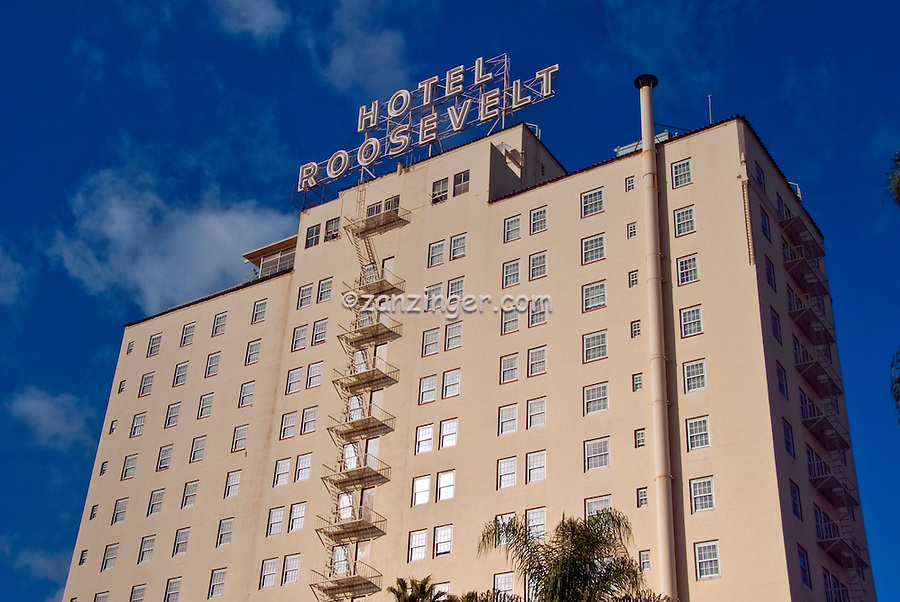 Hollywood Roosevelt Hotel, historic Spanish-style hotel, Hollywood Boulevard in Hollywood, Los Angeles, California