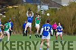 Tommy Walsh and Jordan Murphy attempt to gain possession in the Kerins O'Rahillys v Na Gaeil game in division 1 of the County Football league in Strand Road on Sunday.