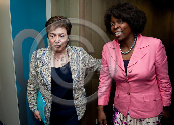 Brussels-Belgium, May 11, 2012 -- Kristalina GEORGIEVA (le), European Commissioner in charge of International Cooperation, Humanitarian Aid and Crisis Response, receives Ertharin COUSIN (ri), Executive Director of the United Nations World Food Programme (WFP - PAM) -- Photo: Horst Wagner / eup-images