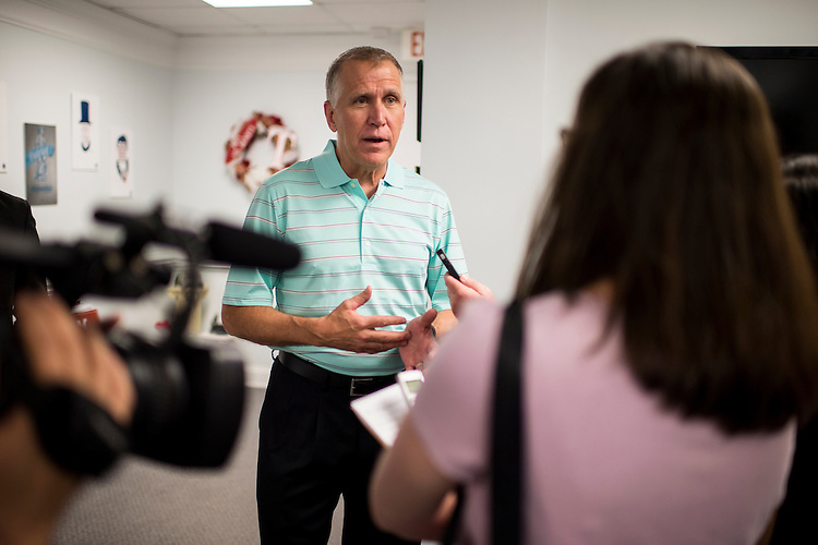 UNITED STATES - MAY 4: NC Speaker of The House and GOP Senate candidate Thom Tillis, R-NC, speaks with reporters after visiting phone bank volunteers at the Tillis for US Senate Campaign Headquarters in Cornelius, N.C., on Sunday, May 4, 2014, two days before North Carolina's primary election. (Photo By Bill Clark/CQ Roll Call)