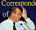 November 25, 2011, Tokyo, Japan - In his shirt sleeves, Michael Woodford, former chief executive of Japans Olympus Corp., pounds away the management of the 92-year-old camera and endoscope maker as he speaks before the foreign and domestic media during a news conference at the foreign press club in Tokyo on Friday, November 25, 2011..Woodford returned to Japan for the first time since he was ousted last month for openly questioning the dubious advisory fees paid over the acquisition of a British medical equipment maker, the center of criminal investigations. Earlier today, he attended an Olympus board meeting for a face-to-face showdown with the group that fired him. The Briton met with Tokyo prosecutors Thursday to discuss the company's attempt to cover up investment losses. He is scheduled to meet members of the Tokyo Metropolitan Police Department and the Securities and Exchange Surveillance Commission during his stay in the country. (Photo by Natsuki Sakai/AFLO) [3615] -mis-.