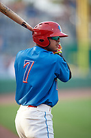 Clearwater Threshers designated hitter Arquimedes Gamboa (7) on deck during a game against the Fort Myers Miracle on May 31, 2018 at Spectrum Field in Clearwater, Florida.  Clearwater defeated Fort Myers 5-1.  (Mike Janes/Four Seam Images)