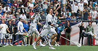Foxborough, Massachusetts - May 28, 2018: NCAA Division I tournament final. Yale University (white) defeated Duke University (blue/white), 13-11, at Gillette Stadium.<br /> Celebration.
