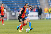Bridgeview, IL, USA - Saturday, April 23, 2016: Western New York Flash defender lady Andrade (16) and Chicago Red Stars midfielder Taylor Comeau (7) during a regular season National Women's Soccer League match between the Chicago Red Stars and the Western New York Flash at Toyota Park. Chicago won 1-0.