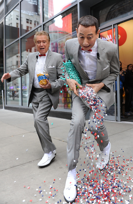 "Regis Philbin and Pee Wee Herman are pictured touring New York during the production of a segment for ""Live! with Regis and Kelly"" on Wednesday, October 6, 2010..Photos: David M. Russell/Disney ABC"
