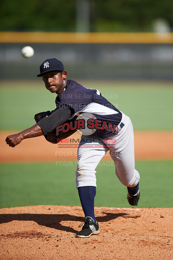 GCL Yankees West starting pitcher Anderson Severino (30) during a game against the GCL Yankees East on August 3, 2016 at the Yankees Complex in Tampa, Florida.  GCL Yankees East defeated GCL Yankees West 12-2.  (Mike Janes/Four Seam Images)