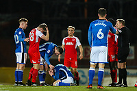 Andrew Cannon of Rochdale stays down after collision with Jack Sowerby of Fleetwood Town during the Sky Bet League 1 match between Rochdale and Fleetwood Town at Spotland Stadium, Rochdale, England on 20 March 2018. Photo by Thomas Gadd.