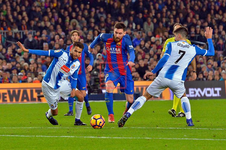 League Santander 2016/2017. Game: 16.<br /> FC Barcelona vs RCD Espanyol: 4-1.<br /> Diego Reyes, Lionel Messi &amp; Gerard Moreno.