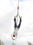Garet Ryan bungee jumping at the Boyne Fishermans Rescue and Recovery open day. Photo: Colin Bell/pressphotos.ie