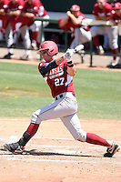 James McCann #27 of the Arkansas Razorbacks plays against the Charlotte 49ers in the Tempe Regional of the NCAA baseball post-season at Packard Stadium on June 5, 2011 in Tempe, Arizona. .Photo by:  Bill Mitchell/Four Seam Images.