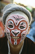 Beijing, China. October 1st, 1984.  Celebration of the 35th Anniversary of the Chinese Revolution. Huge parade of minorities and Chinese artists. Large representation of the popular Chinese Opera.