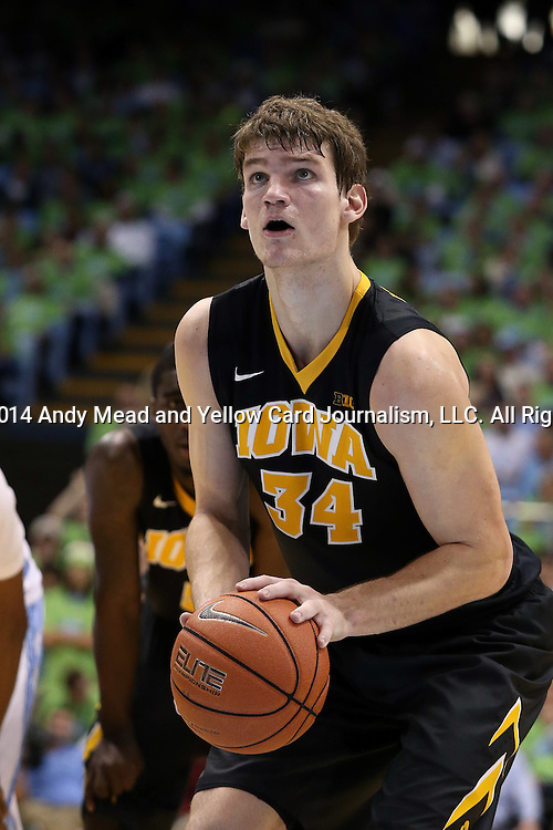 03 December 2014: Iowa's Adam Woodbury. The University of North Carolina Tar Heels played the University of Iowa Hawkeyes in an NCAA Division I Men's basketball game at the Dean E. Smith Center in Chapel Hill, North Carolina. Iowa won the game 60-55.