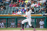 Kyle Kubitza (10) of the Salt Lake Bees at bat against the Reno Aces in Pacific Coast League action at Smith's Ballpark on May 10, 2015 in Salt Lake City, Utah. Salt Lake defeated Reno 9-2 in Game One of the double-header.  (Stephen Smith/Four Seam Images)