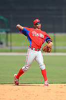 GCL Phillies third baseman Jan Hernandez (18) during a game against the GCL Tigers on July 16, 2013 at Tiger Town in Lakeland, Florida.  GCL Tigers defeated GCL Phillies 8-6.  (Mike Janes/Four Seam Images)