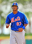 10 March 2012: New York Mets outfielder Cesar Puello warms up prior to a Spring Training game against the Washington Nationals at Space Coast Stadium in Viera, Florida. The Nationals defeated the Mets 8-2 in Grapefruit League play. Mandatory Credit: Ed Wolfstein Photo