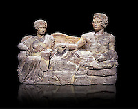 Etruscan cinerary, funreary, urn cover depicting a husband and wife,  from the Padata Necropolis, Chianciano, end of 5th century B.C., inv 94352 National Archaeological Museum Florence, Italy , black background