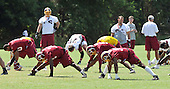Ashburn, VA - June 11, 2008 -- Washington Redskins players participate in stretching exercises to warm-up to participate in an organized team activity (OTA) as part of their preparations for the 2008 National Football League season at their training facility, Redskins Park in Ashburn, Virginia on Wednesday, June 11, 2008..Credit: Ron Sachs / CNP