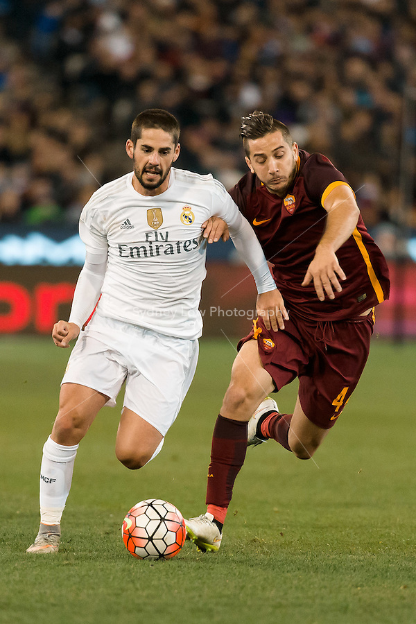 Melbourne, 18 July 2015 - Isco of Real Madrid controls the ball in game one of the International Champions Cup match at the Melbourne Cricket Ground, Australia. Roma def Real Madrid 7-6 Penalties. Photo Sydney Low/AsteriskImages.com