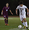 Andrew Weiner #3 of Mepham moves the ball downfield during the Nassau County varsity boys soccer Class A final against Garden City at Mitchel Athletic Complex in Uniondale on Wednesday, Oct. 31, 2018. He  scored the lone goal early in the first half to lead Mepham to a 1-0 win.