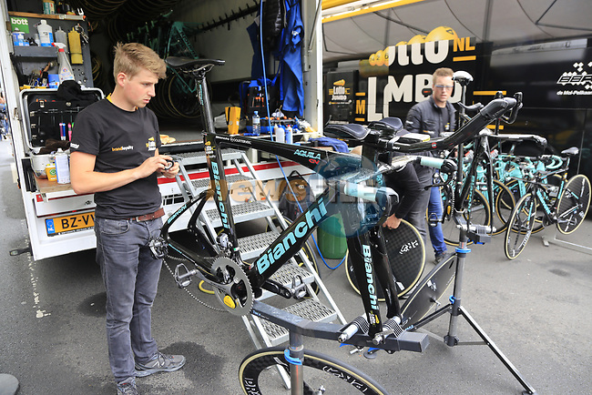 Lotto NL-Jumbo team mechanics hard at work before Stage 1, a 14km individual time trial around Dusseldorf, of the 104th edition of the Tour de France 2017, Dusseldorf, Germany. 1st July 2017.<br /> Picture: Eoin Clarke | Cyclefile<br /> <br /> <br /> All photos usage must carry mandatory copyright credit (&copy; Cyclefile | Eoin Clarke)