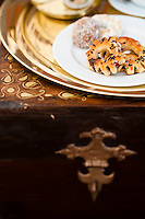 Detail of a plate of traditional Libyan biscuits served for afternoon tea