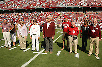 14 October 2006: Paul Wiggin, Tracy Hughes, Jim Rutter, Milt McColl and other alums were honorary captains during Stanford's 20-7 loss to Arizona during Homecoming at Stanford Stadium in Stanford, CA.