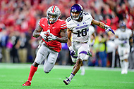 Indianapolis, IN - DEC 1, 2018: Ohio State Buckeyes wide receiver Johnnie Dixon (1) breaks free for a first down during second half action of the Big Ten Championship game between Northwestern and Ohio State at Lucas Oil Stadium in Indianapolis, IN. Ohio State defeated Northwestern 45-24. (Photo by Phillip Peters/Media Images International)
