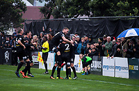 Team Wellington's Scott Hilliar celebrates his goal during the Oceania Football Championship final (first leg) football match between Team Wellington and Lautoka FC at David Farrington Park in Wellington, New Zealand on Sunday, 13 May 2018. Photo: Dave Lintott / lintottphoto.co.nz