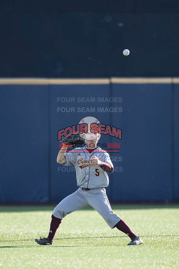 Central Michigan Chippewas outfielder Zach Gilles (5) tracks a ball in the outfield against the Michigan Wolverines on May 9, 2017 at Ray Fisher Stadium in Ann Arbor, Michigan. Michigan defeated Central Michigan 4-2. (Andrew Woolley/Four Seam Images)