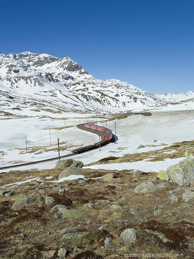 Switzerland, Graubünden, Bernina, Pass, Red Train, Unesco