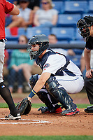 Binghamton Rumble Ponies catcher Patrick Mazeika (11) in front of home plate umpire Ben Levin during a game against the Erie SeaWolves on May 14, 2018 at NYSEG Stadium in Binghamton, New York.  Binghamton defeated Erie 6-5.  (Mike Janes/Four Seam Images)