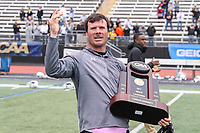 Towson, MD - May 6, 2017: Towson Tigers head coach Shawn Nadelen holds the trophy after the game between Towson and UMASS at  Minnegan Field at Johnny Unitas Stadium  in Towson, MD. May 6, 2017.  (Photo by Elliott Brown/Media Images International)