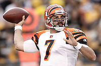 PITTSBURGH, PA - DECEMBER 04:  Bruce Gradkowski #7 of the Cincinnati Bengals drops back to pass against the Pittsburgh Steelers in the second half during the game on December 4, 2011 at Heinz Field in Pittsburgh, Pennsylvania.  (Photo by Jared Wickerham/Getty Images)